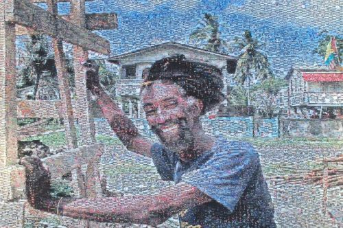 Builders Beyond Borders showed mosaics. This one was made out of pieces of photos, taken on a recent service trip.