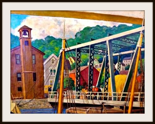 "Westport artist Robert Lambdin's ""Saugatuck in the 19th Century"" (1969) prominently featured the swing bridge."