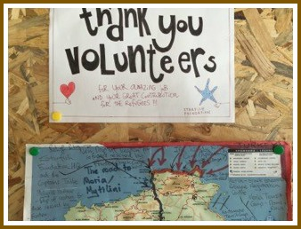 A hand-made sign thanks the many volunteers.