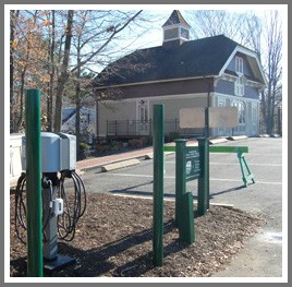 EV charging stations outside Tri-Town Credit Union headquarters on Jesup Road.