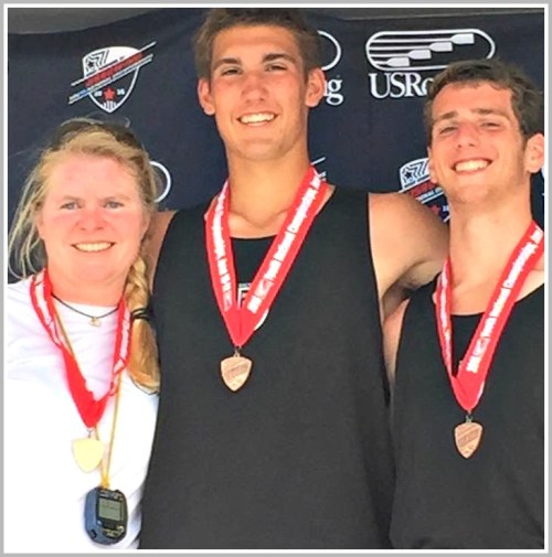 Sharon Kriz, Oliver Bub and Lucas Manning, after earning a bronze medal at the men's youth pair national championship.