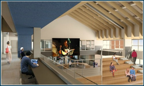 """Expanding the 2nd floor balcony will allow users to """"perch"""" over the Great Hall."""