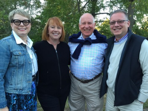 First Selectman Jim Marpe and his wife Mary Ellen (center) were at last night's Wakeman Town Farm Harvest Fest, along with Kelle and Jeff Ruden.
