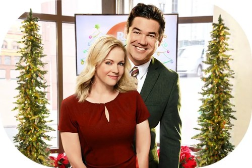 "Westport's Melissa Joan Hart and Dean Cain, in ""Broadcasting Christmas."""
