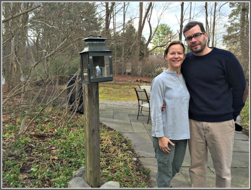 Sarah and Bill Dransfield, on the property they now own.