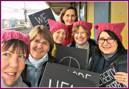 Amy Leonard, Ann Pawlick, Jenny Robson, Diane Connolly, Faith Taylor and Joan Richardson at the Westport train station, en route to the New York march.
