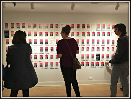 "Guests at last night's Westport Arts Center opening reception viewed dozens of ""I am more than ..."" posters."