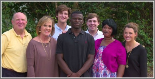 Clement Mubungira with the family that welcomed him into their Louisiana home.