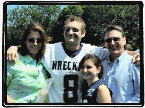 Kyle Mendelson and his family, during his Staples High School lacrosse days.