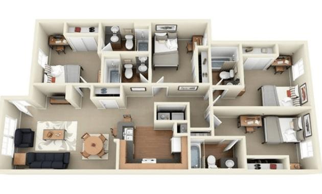 Gambar Sketsa Denah Rumah 1 Lantai 4 Kamar Tidur