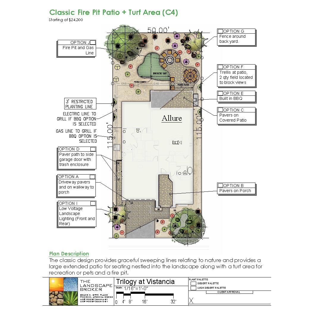Allure, Classic Fire Pit Patio + Turf Area (C4)
