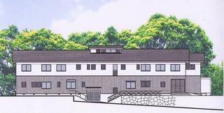 完成予定図。1階はデイサービスセンター、2階はグループホーム。