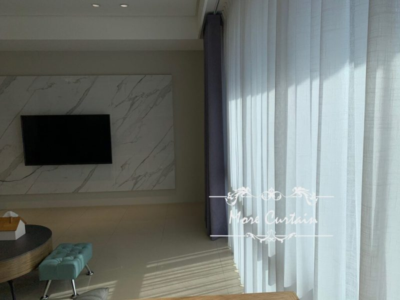 蛇簾 細緻紗簾 客廳落地窗簾設計