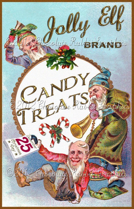 Christmas Vintage Label Tag Candy Digital Download Collage
