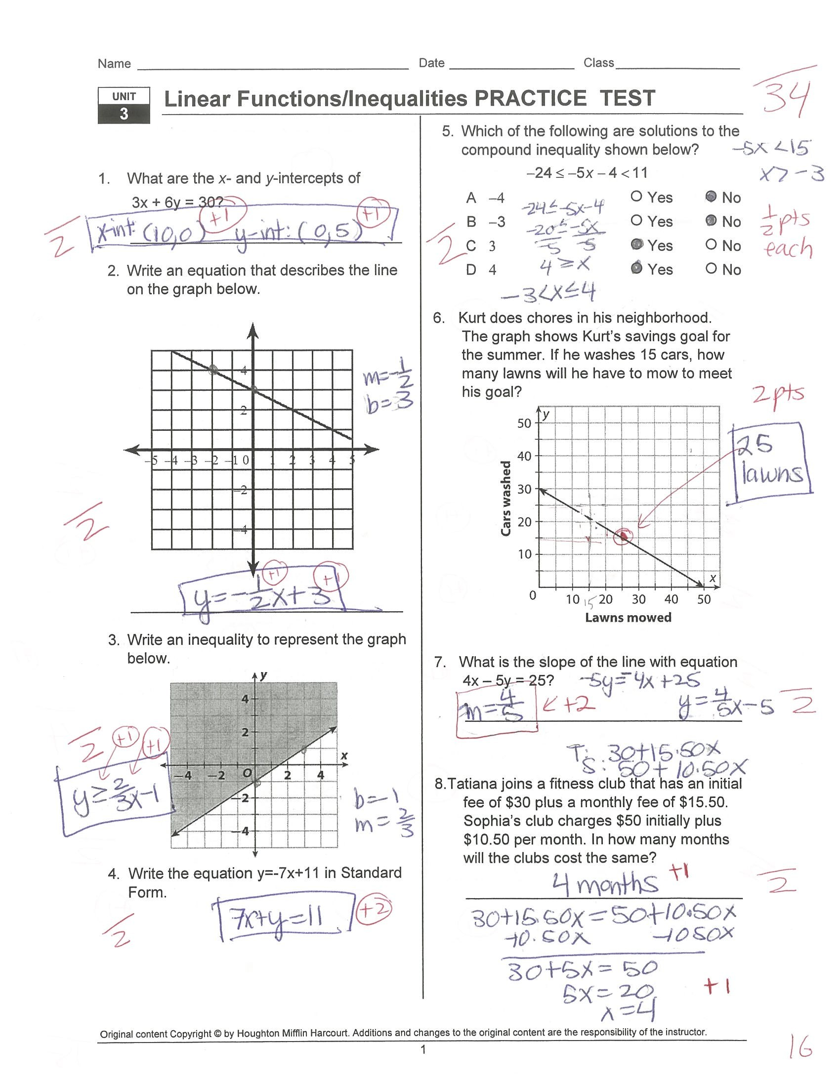 Quadratic Transformations Worksheet Key