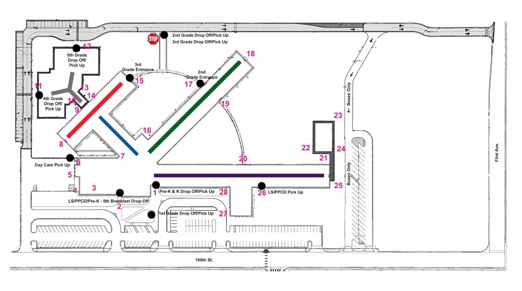 North Arrival And Dismissal Map