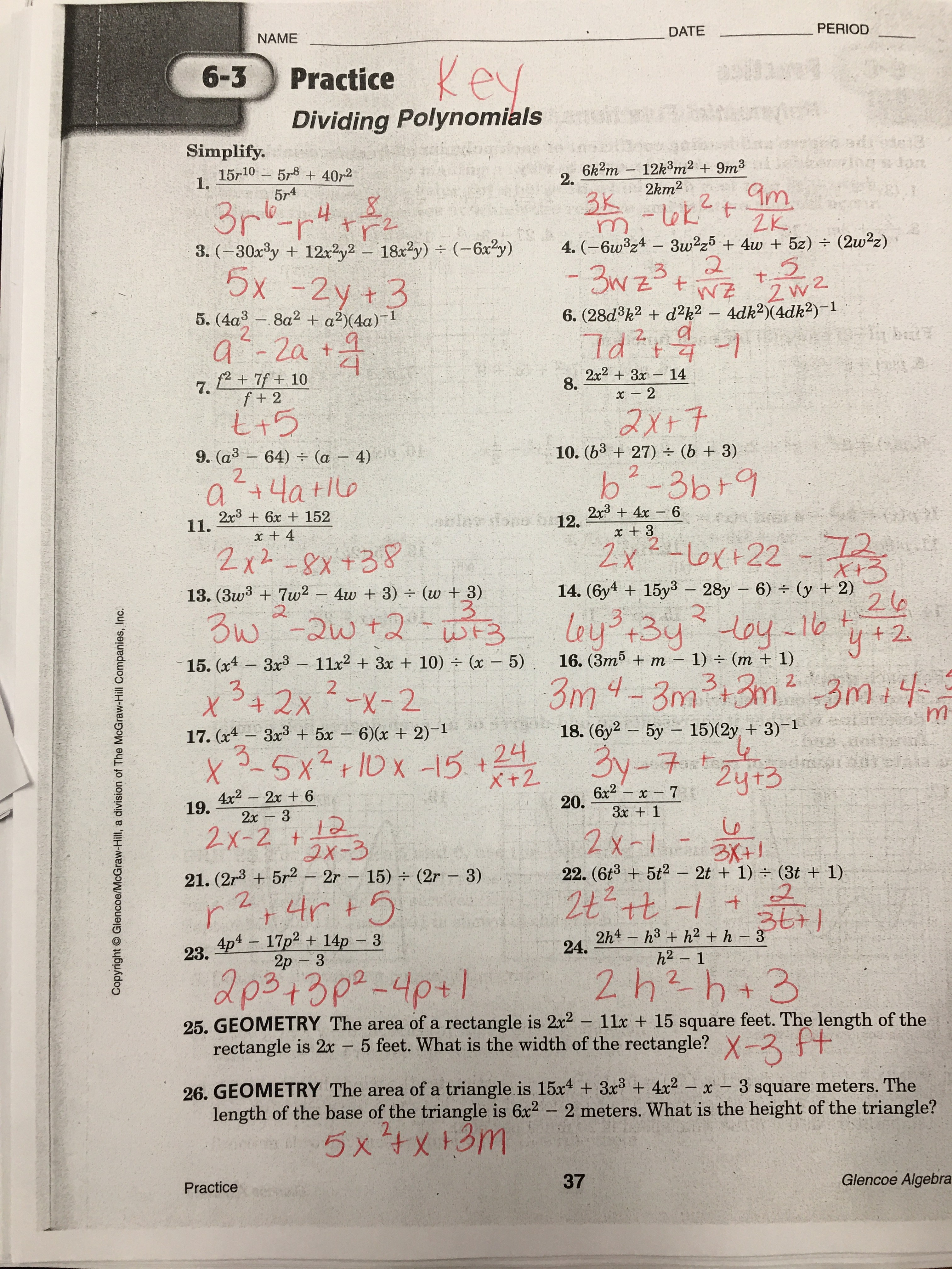 6 3 Skills Practice Solving Quadratic Equations By Factoring Answers