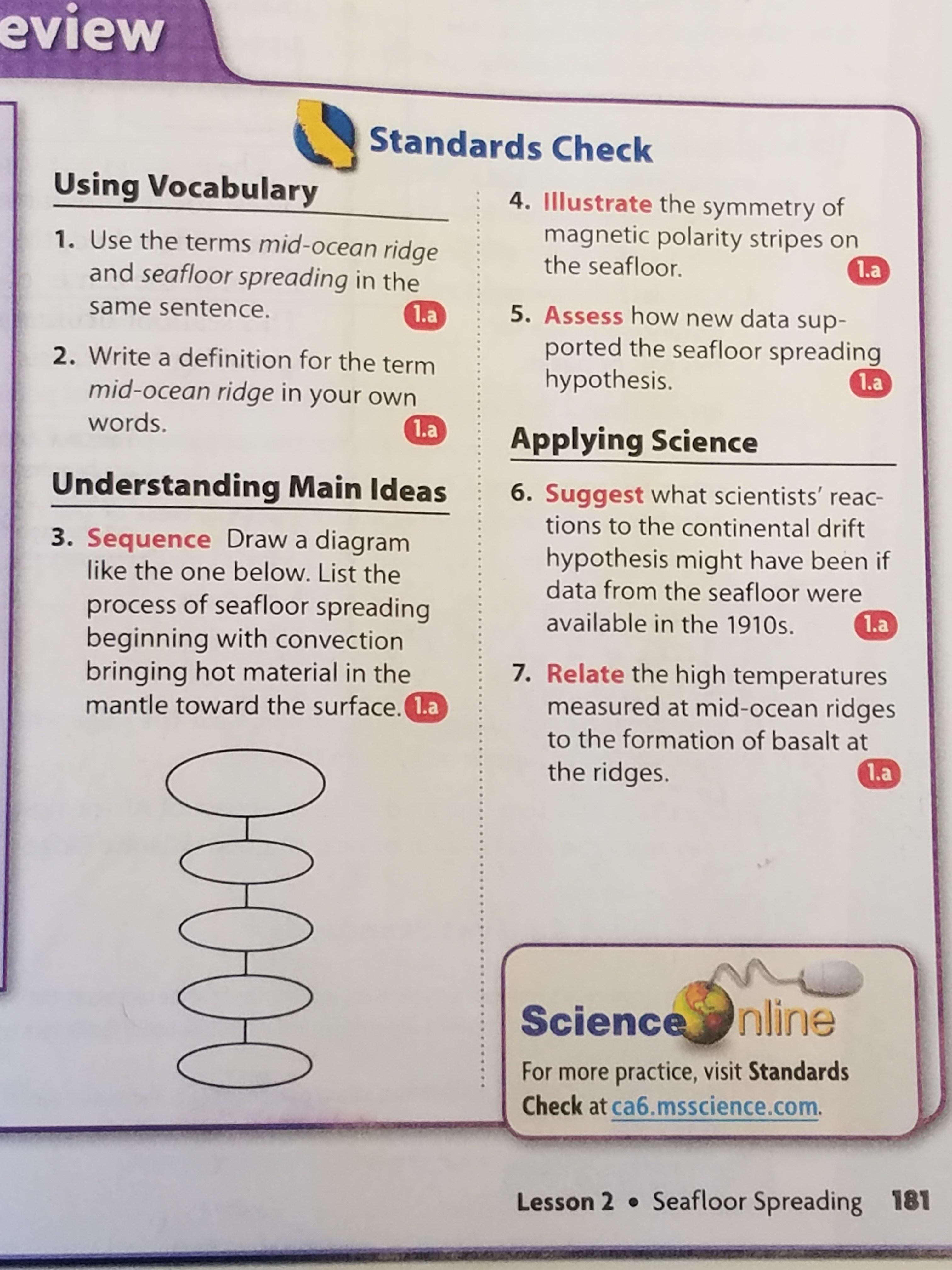 Sea Floor Spreading Example Sentence