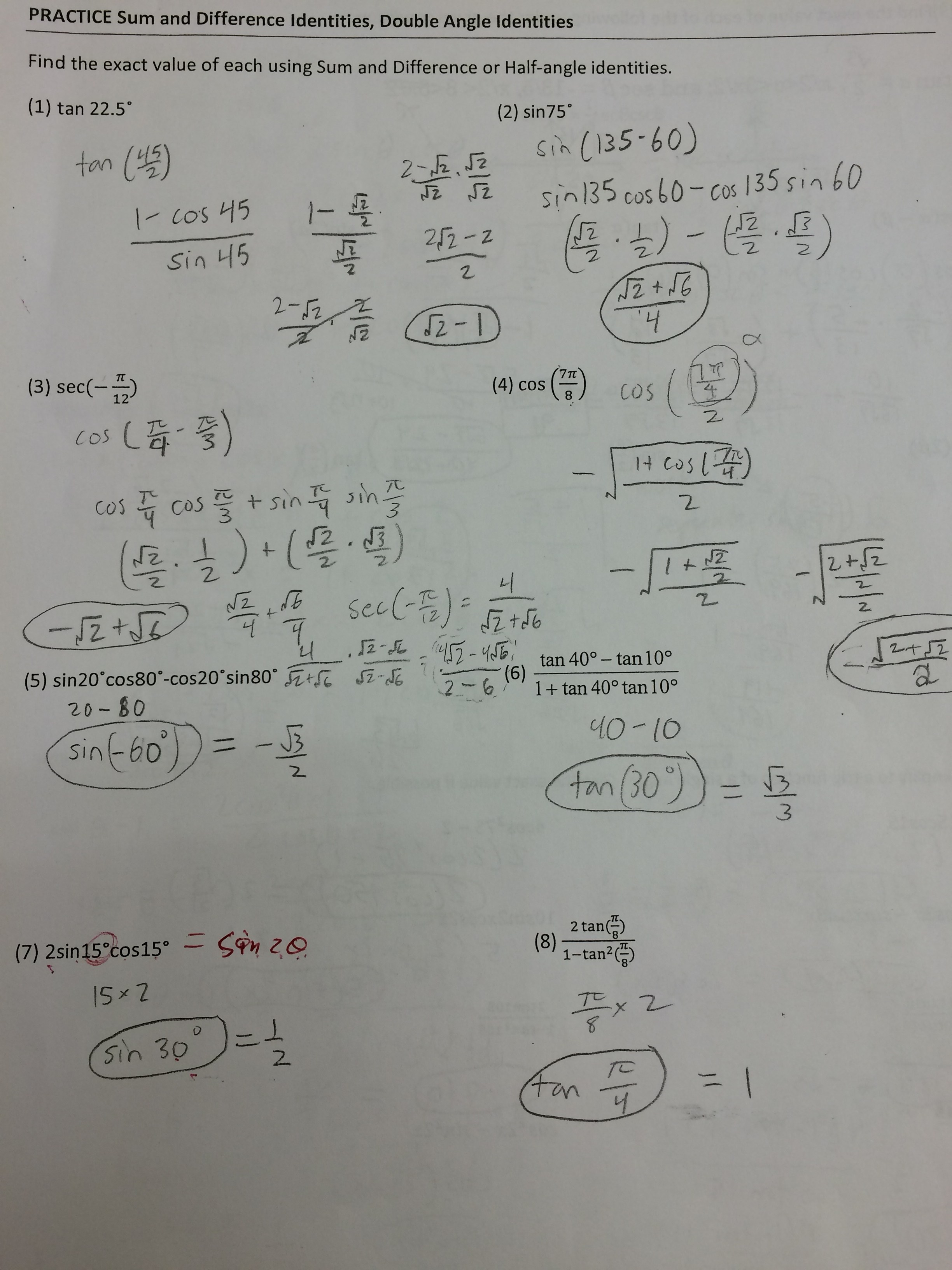 Worksheet Precalculus Worksheets With Answers Grass Fedjp Worksheet Study Site