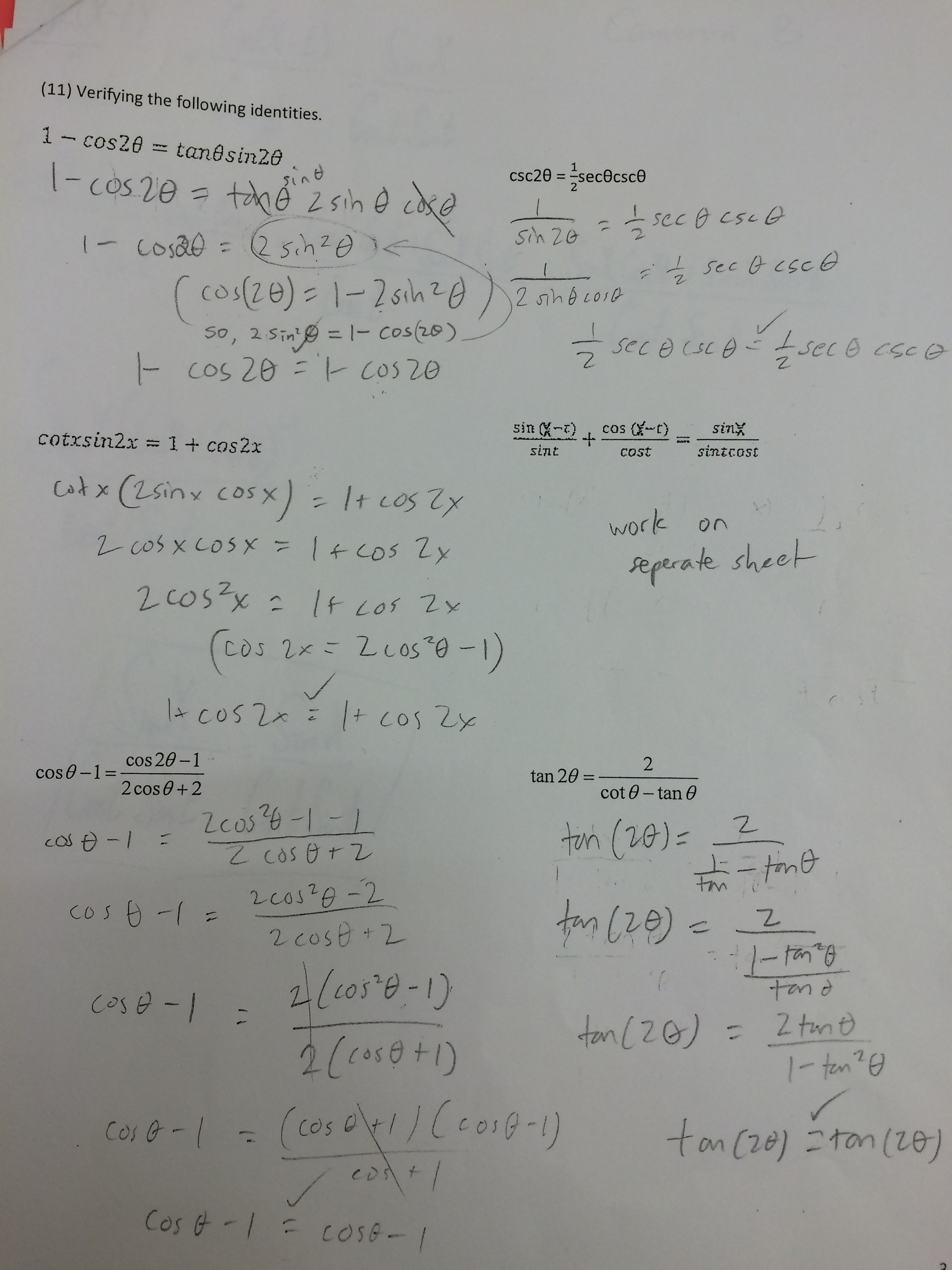 Worksheet On Sum And Difference Identities