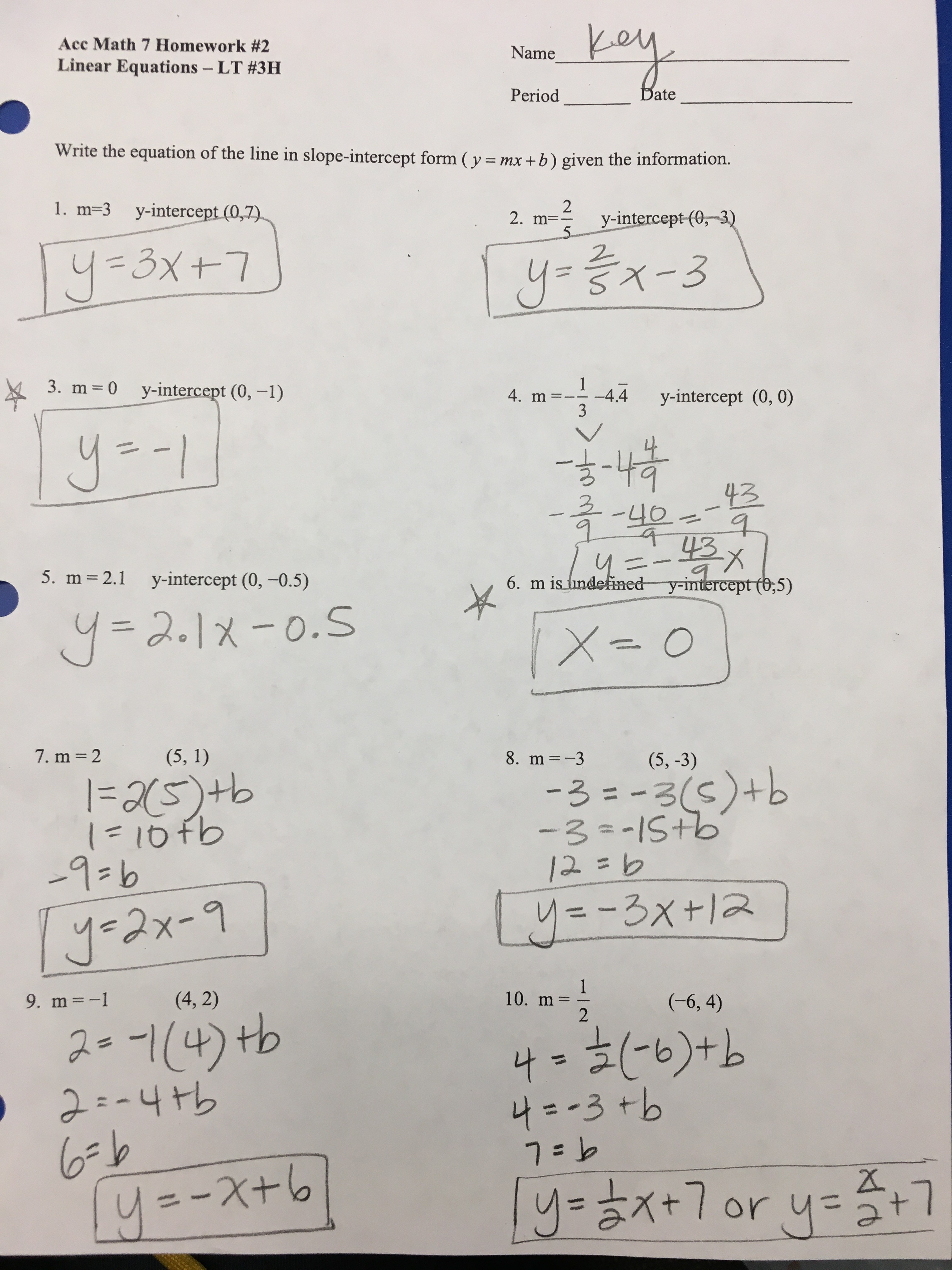 Worksheet Level 3 Writing Linear Equations Answer Key