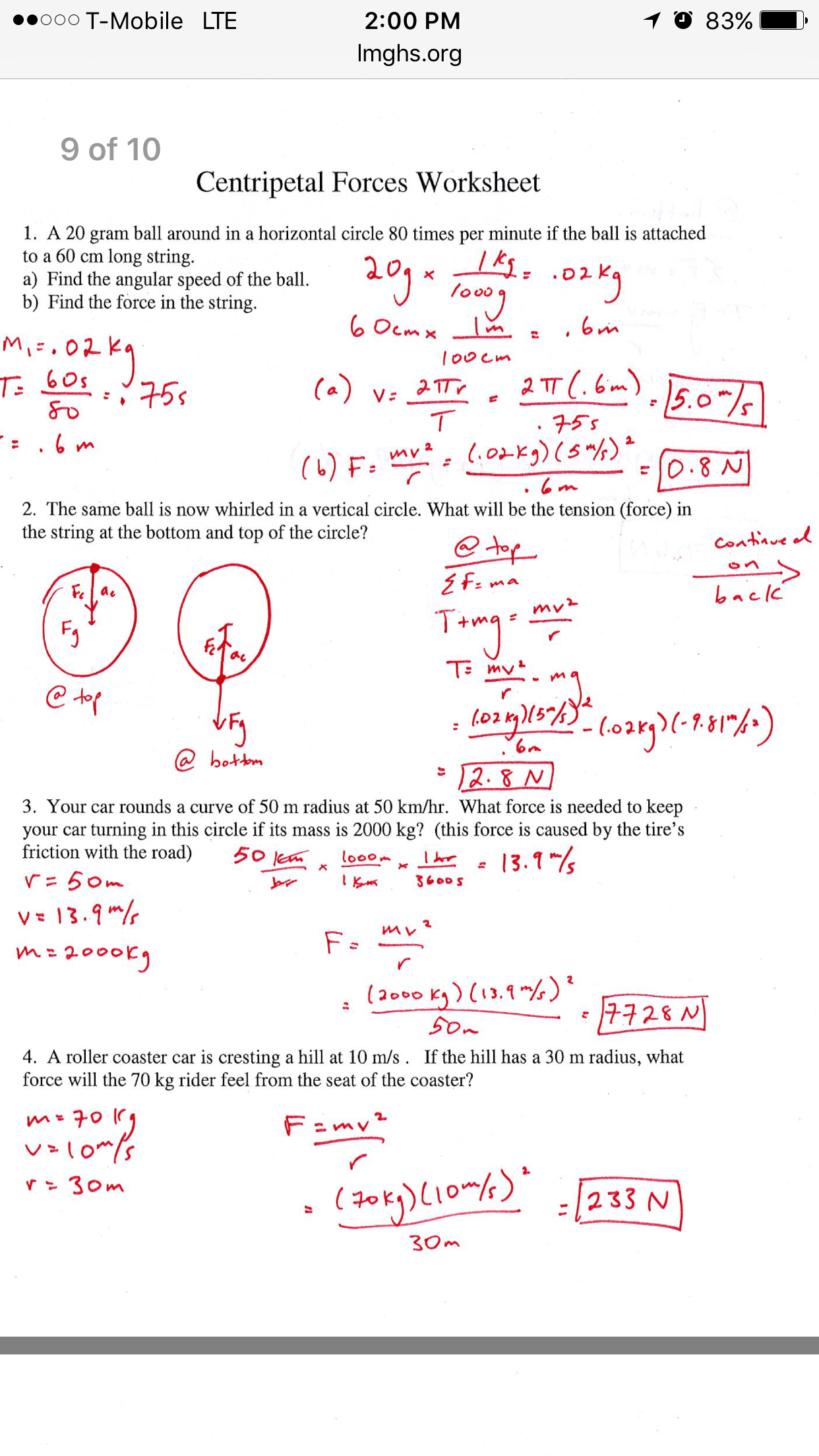 Uniform Circular Motion Worksheet With Answers