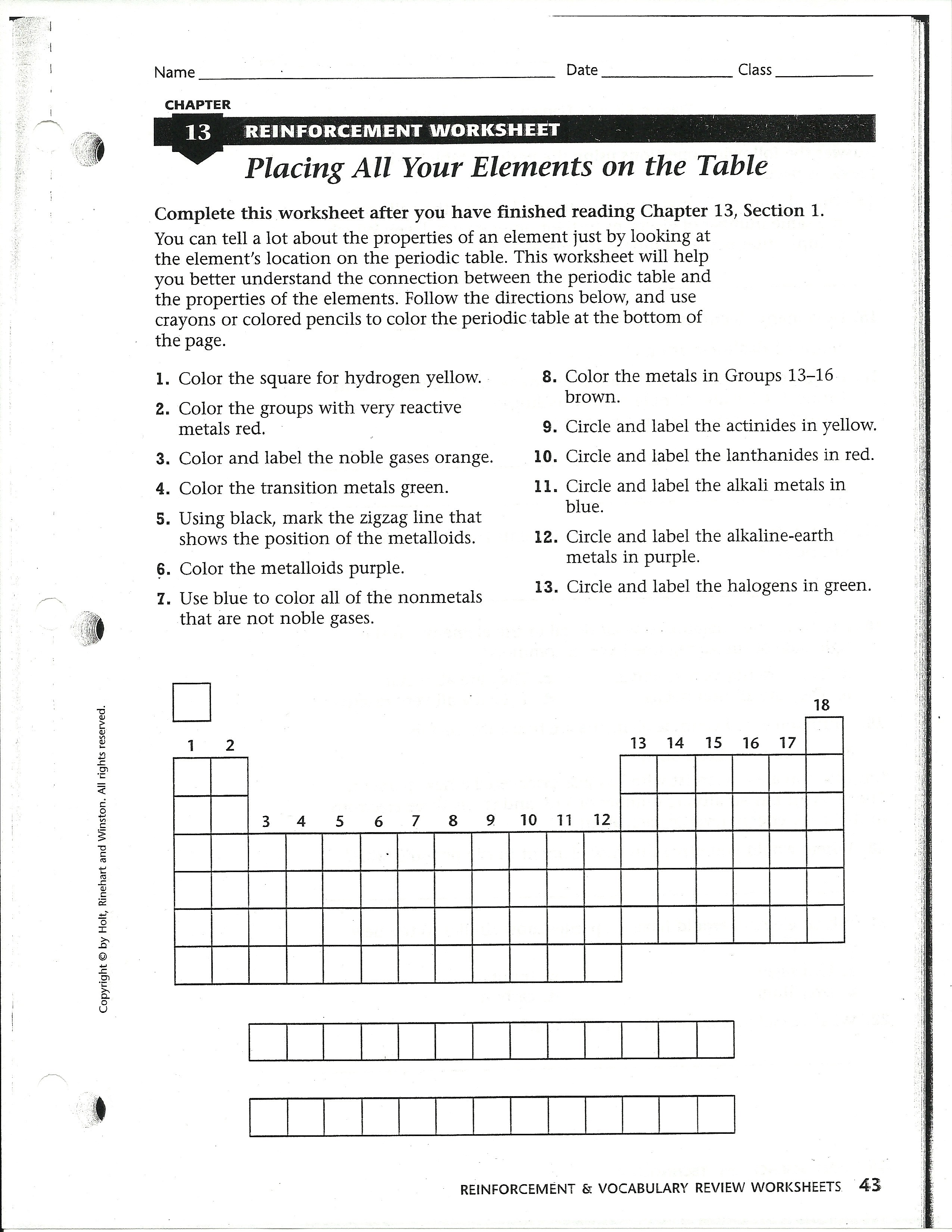 Worksheet Introduction To The Periodic Table Answer Key