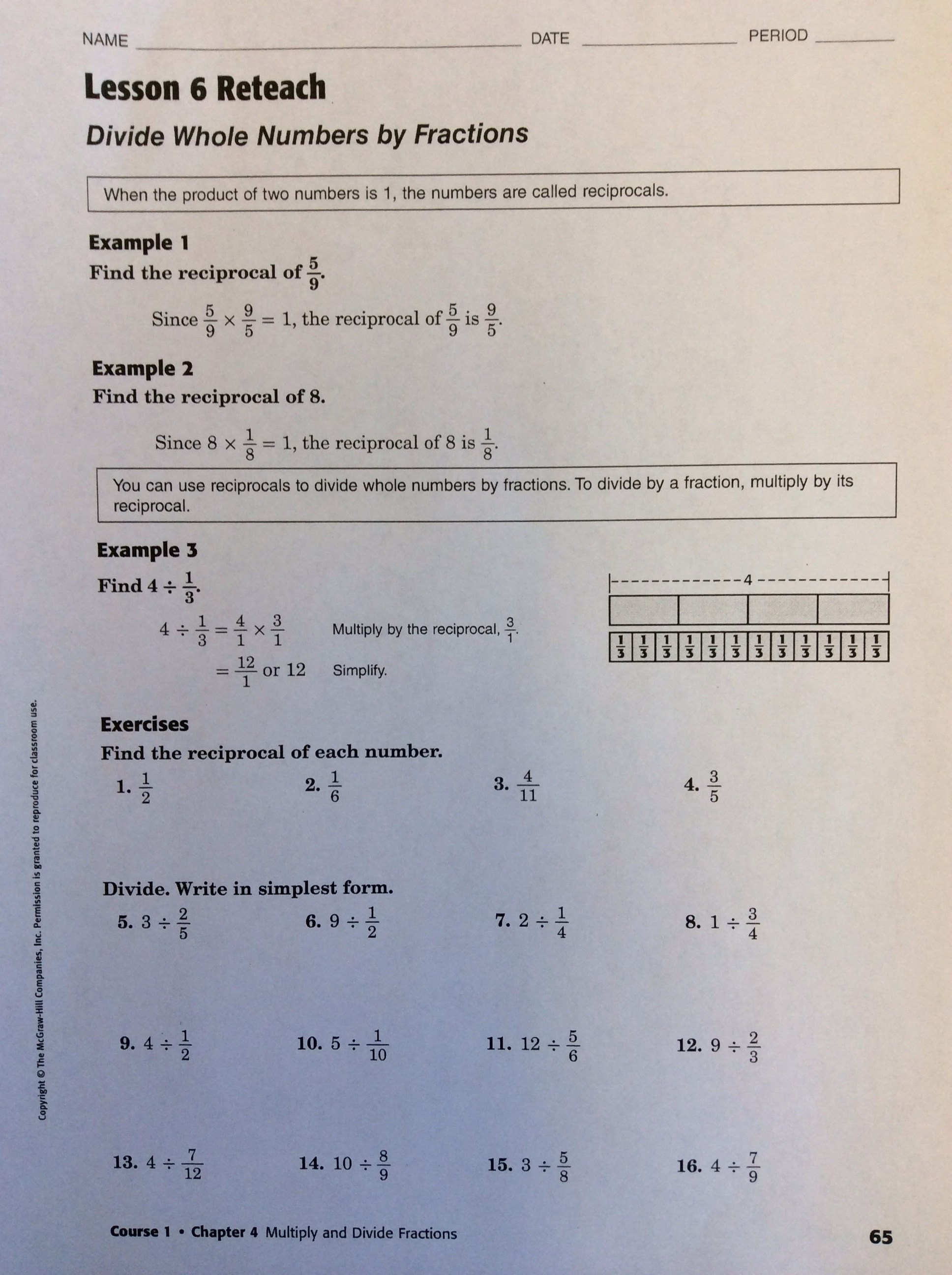 Lesson 4 Homework Practice Ratio Tables 6th Grade