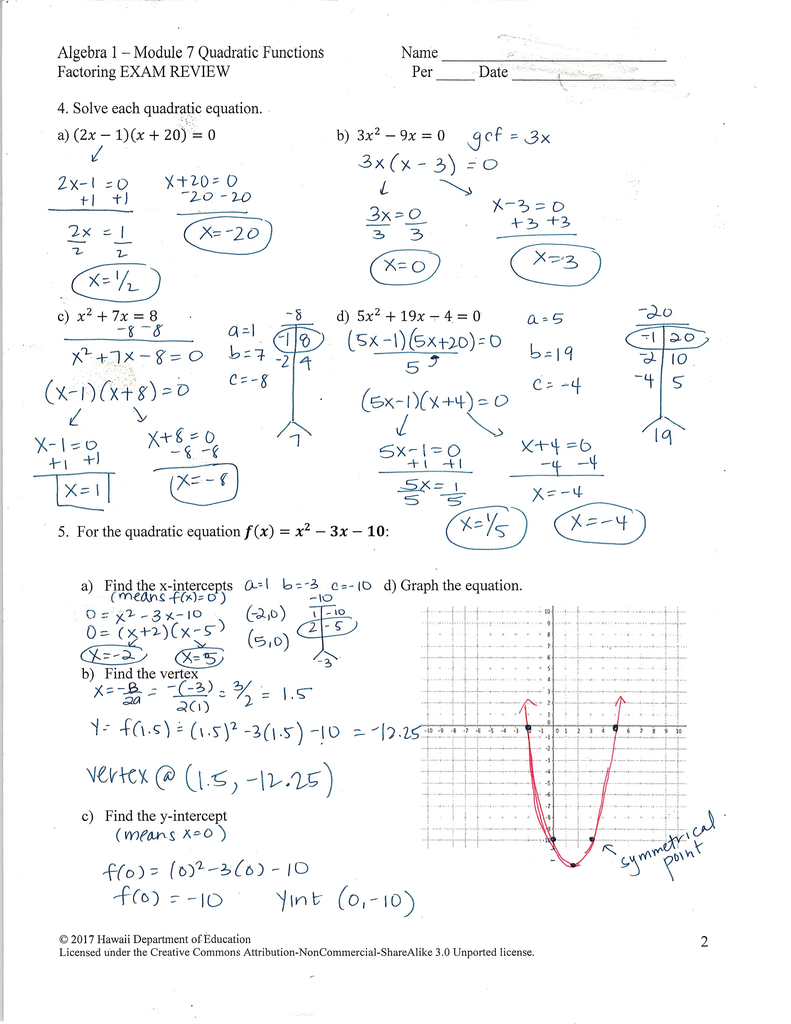 Solving Quadratic Equations By Factoring Notes