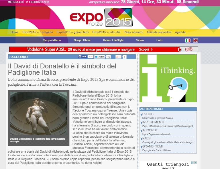 gaffe col David di Donatello, EXPO 2015