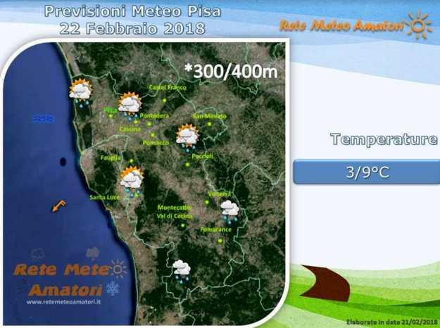 Previsioni meteo a Pisa: tempo instabile con piogge sparse