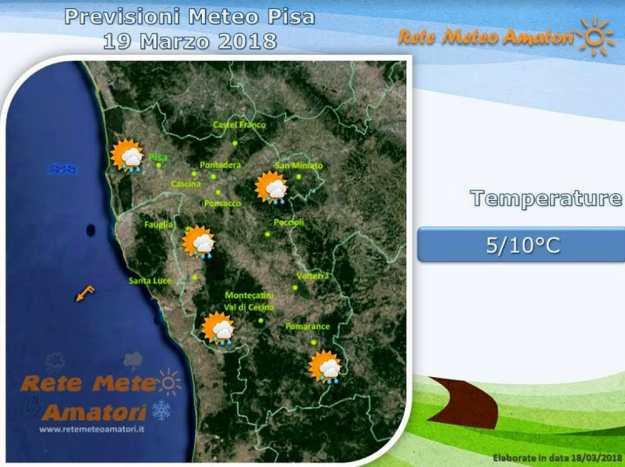 Previsioni meteo a Pisa: lunedì di instabilità