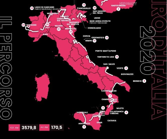 mappa giro italia 2020-2