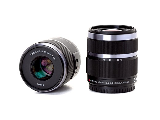 The 42.5mm F1.8 prime lens can be seen on the left and the 12-40mm F3.5-5.6 can be seen on the right. The focus ring on the 42.5mm prime doesn't actually move - it's just for show.