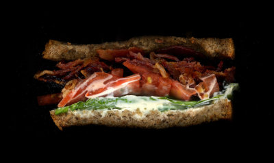 "Papa Lima Sandwich: ""BLT Perfecto"" Bacon, Lettuce, Tomato, Basil Mayo, On toasted rye"