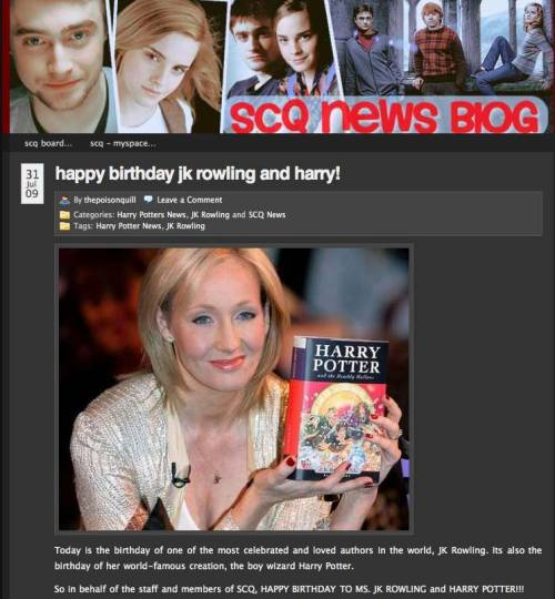 Celebrating Harry Potter's and JK Rowling's mutual birthdays