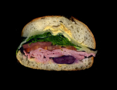 Urban Rustic: Ham, Swiss, Arugula, Tomato, Olives, Mustard, on a roll