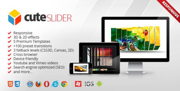 Cute Slider - 3D & 2D HTML5 Image Slider - CodeCanyon Item for Sale