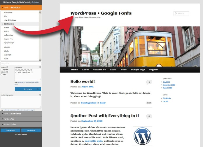 Ultimate Google Web Fonts fronend interface