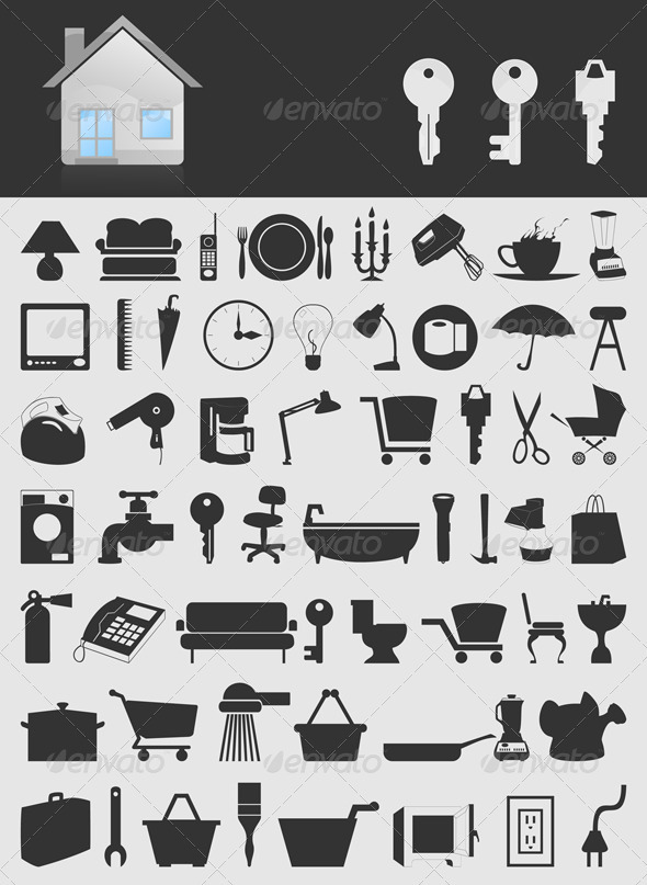 House icons2 GraphicRiver - Vectors -  Objects  Man-made objects 553620