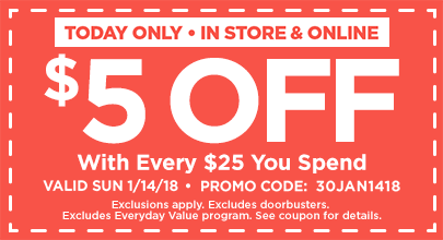 $5 Off For Every $25 You Spend