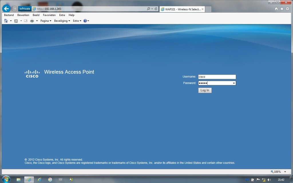 Cisco router login page
