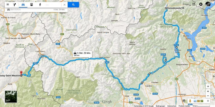 Domodossola-Bourg-Saint-Maurice-Map