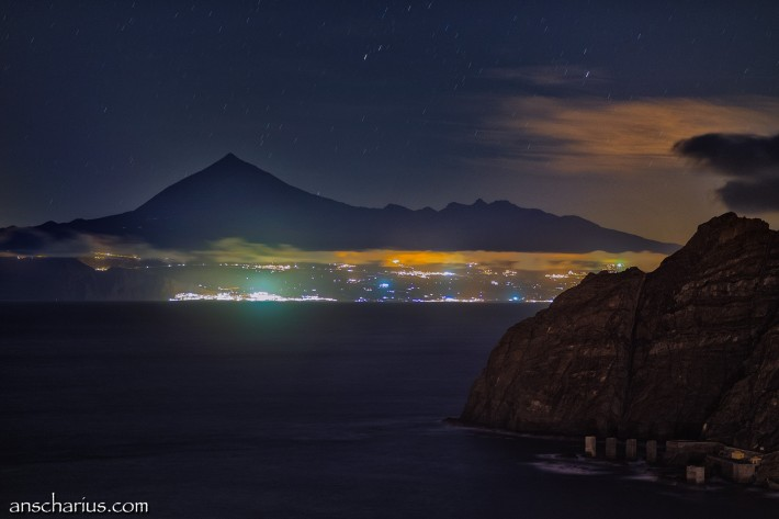 Tenerife at night seen from Hermigua on La Gomera