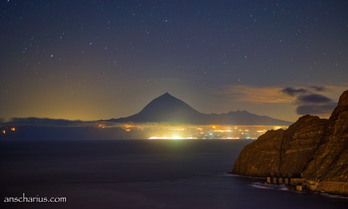 Tenerife at night seen from Agulo on La Gomera