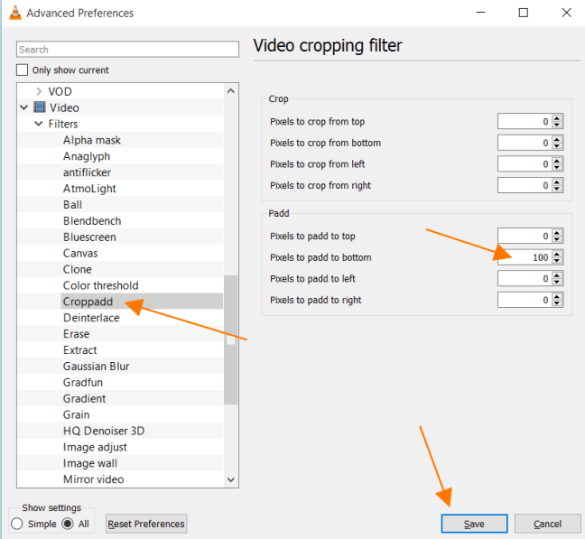 Video Cropping Filter