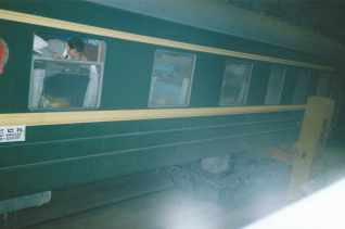 """A different take on """"changing trains"""" - swapping the wheels at the Mongolia-China border."""