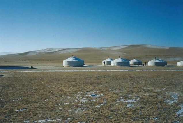 Ger camp on the steppe in Mongolia.