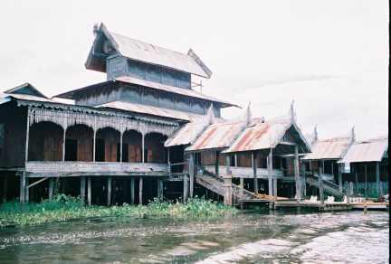 Exterior of Nga Phe Kyaung jumping cat monastery.