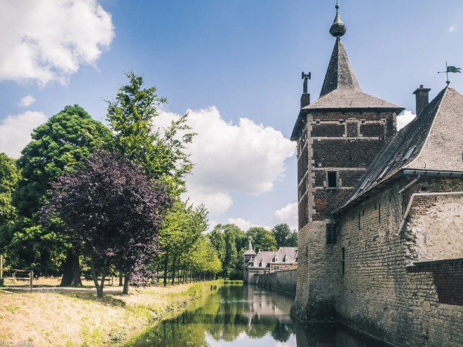 ancient, architecture, beautiful, belgium, blue, building, castle, defense, dutch, europe, flanders, foliage, fortification, fortress, grass, green, historic, historical, kasteel, landmark, landscape, medieval, old, outdoor, perk, summer, sunny, tourism, tower, towers, travel, van, vlaams-brabant, wall, water